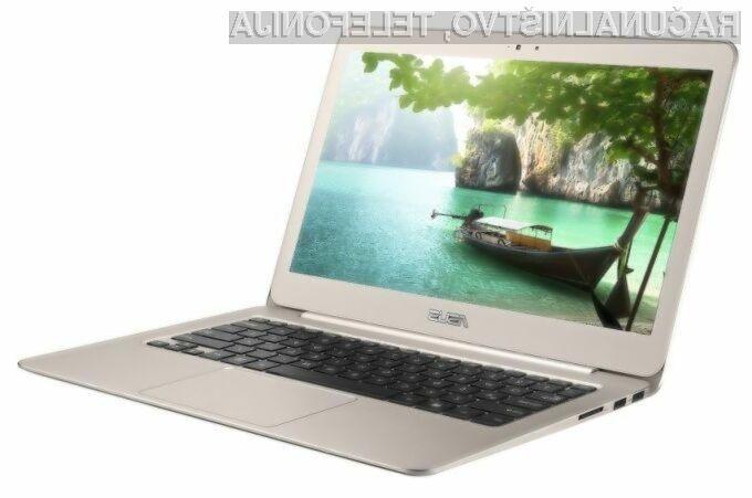 Novi Asus Zenbook se lahko brez težav postavi po robu kompaktnemu prenosnemu računalniku Apple MacBook Air.
