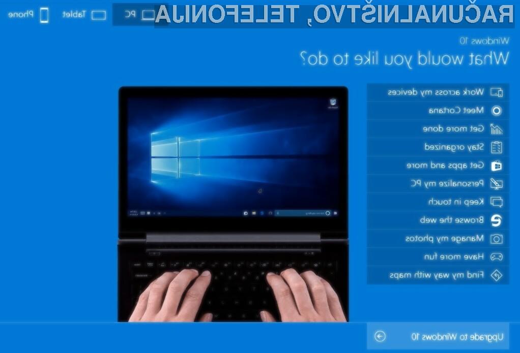 Operacijski sistem Microsoft Windows 10 lahko sedaj pred namestitvijo preizkusimo!