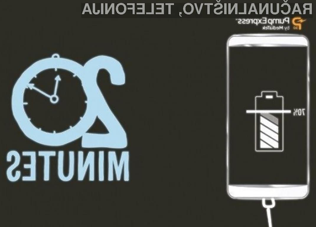 Tehnologija MediaTek Pump Express 3.0 lahko povsem izpraznjeno baterijo napolni do 70 odstotkov njene kapacitete v zgolj 20 minutah.