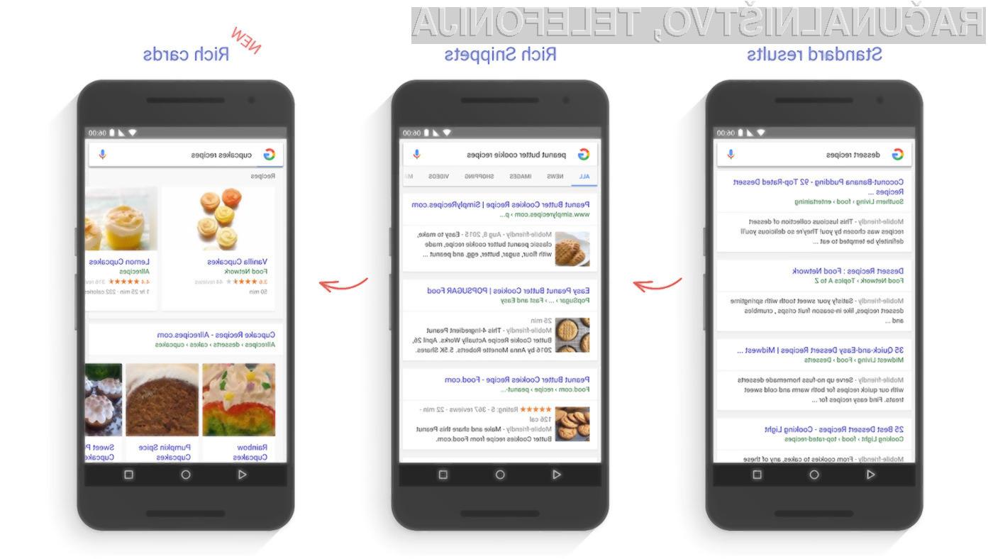 Novi mobilni spletni iskalnik Google običajne zadetke nadgradi v slikovno osredotočene rezultate.