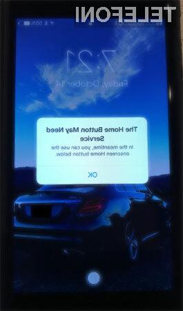 V primeru odpovedi kapacitivnega gumba »domov«, se ta prikaže kar na spodnjem delu zaslona.