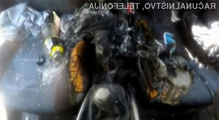 Avtomobil naj bi uničila gorljiva baterija pametnega mobilnega telefona iPhone 7.