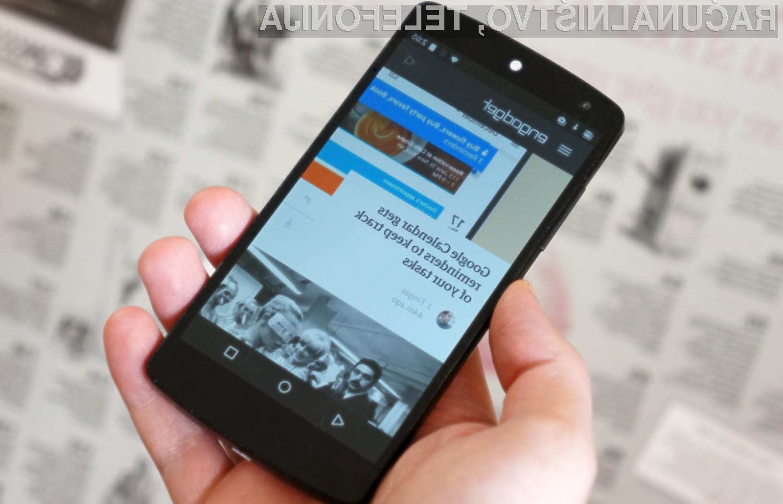 Iskalna vrstica spletnega iskalnika Google za Android naj bi bila postavljena na dnu zaslona!