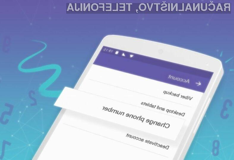 Storitev Viber odslej omogoča prosto spreminjanje telefonskih številk.