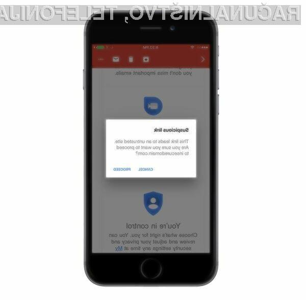 Novi Gmail uporabnike Applovih naprav ščiti pred lažnimi elektronskimi sporočili.