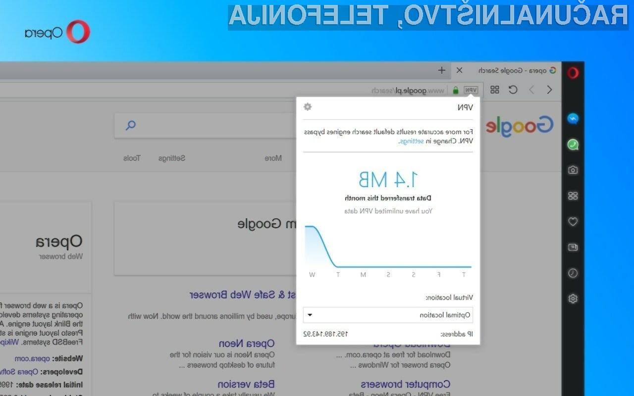 VPN je v brskalniku Opera 50 hiter in zanesljiv!