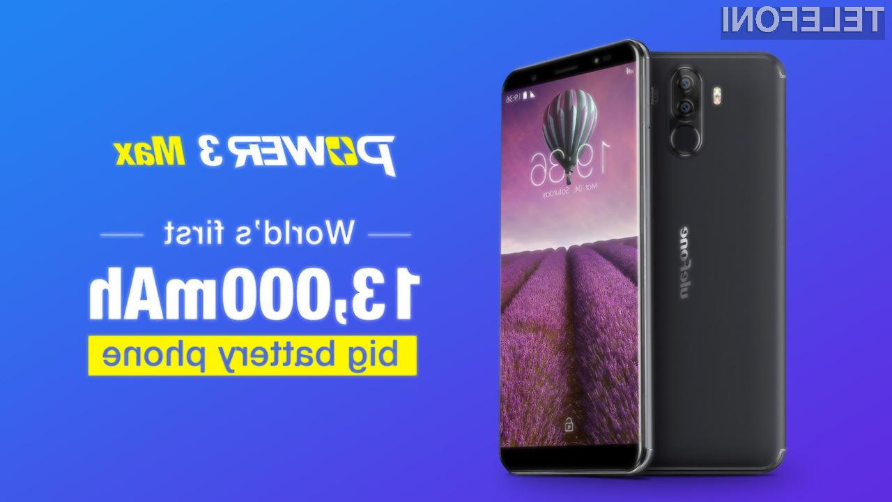 Pametni mobilni telefon Ulefone Power 3 Max bomo lahko brez polnjenja uporabljali tudi več kot teden dni.