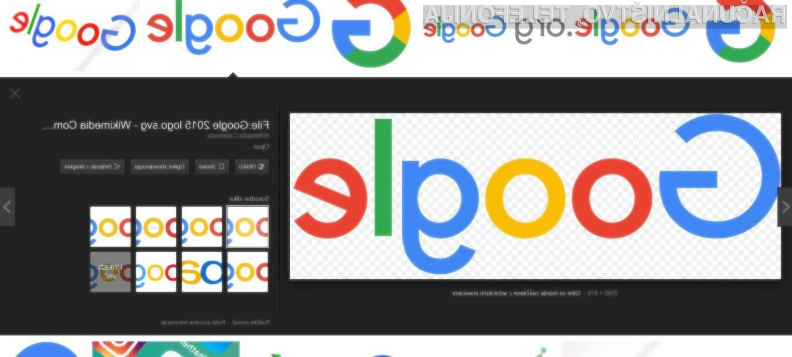 Google odstranil gumb za direkten ogled slik