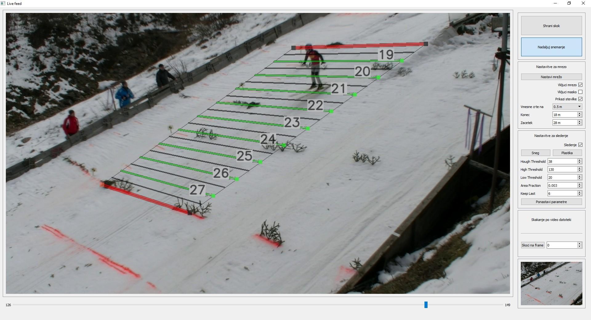Sistem merjenja dolžine smučarskih skokov