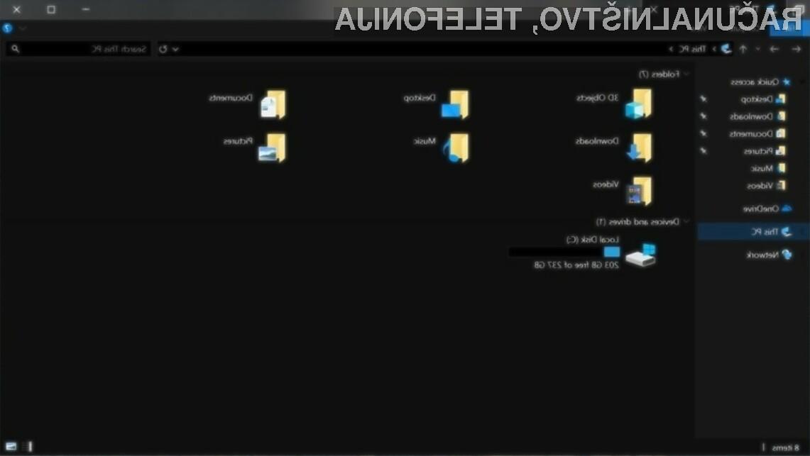 Povsem črni raziskovalec datotek File Explorer bo pisan na kožo tistim, ki veliko delajo ponoči.