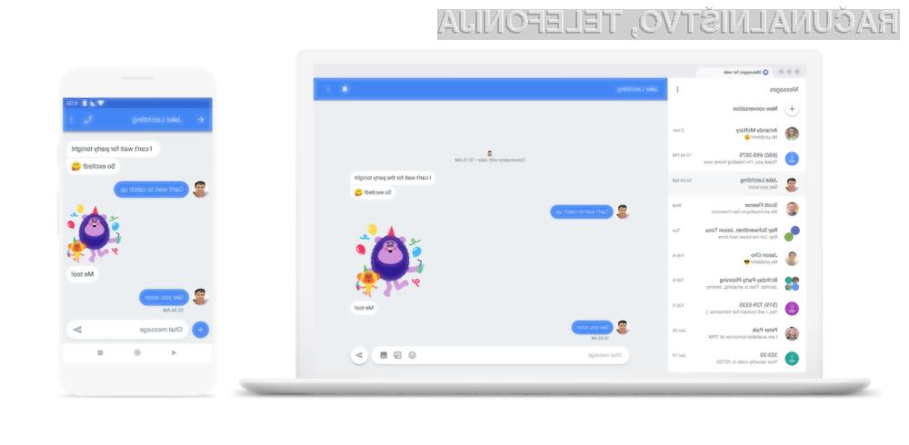 Android Messages lahko odslej uporabljamo tudi na osebnih računalnikih!