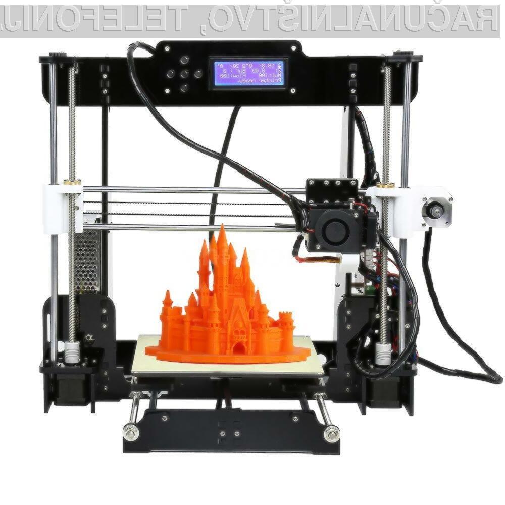 Odličen tridimenzionalni tiskalnik Anet A8 je lahko naš že za zgolj 128 evrov.