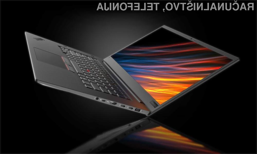Profesionalni prenosnik Lenovo Thinkpad P1 v debelino meri zgolj 18,4 milimetrov in tehta le 1,7 kilogramov.