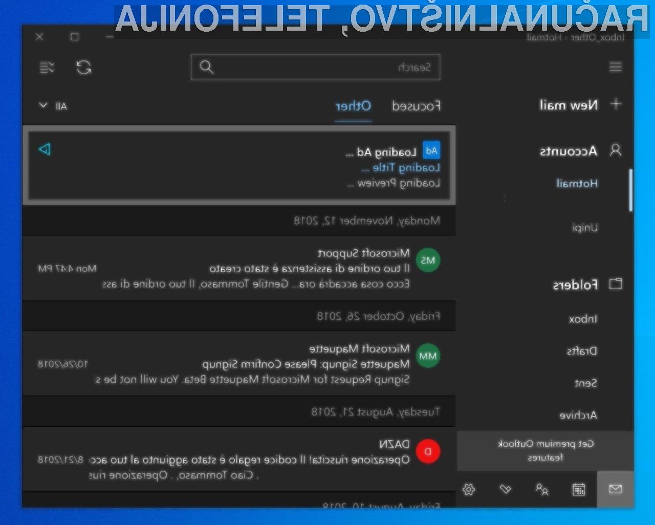 Microsoft je s spornim oglaševanjem znotraj lastnega odjemalca elektronske pošte vsaj zaenkrat prenehal.