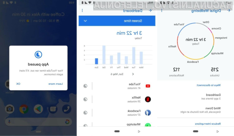 Mobilna aplikacija Google Digital Wellbeing lahko omeji pretirano uporabo določenih mobilnih aplikacij.