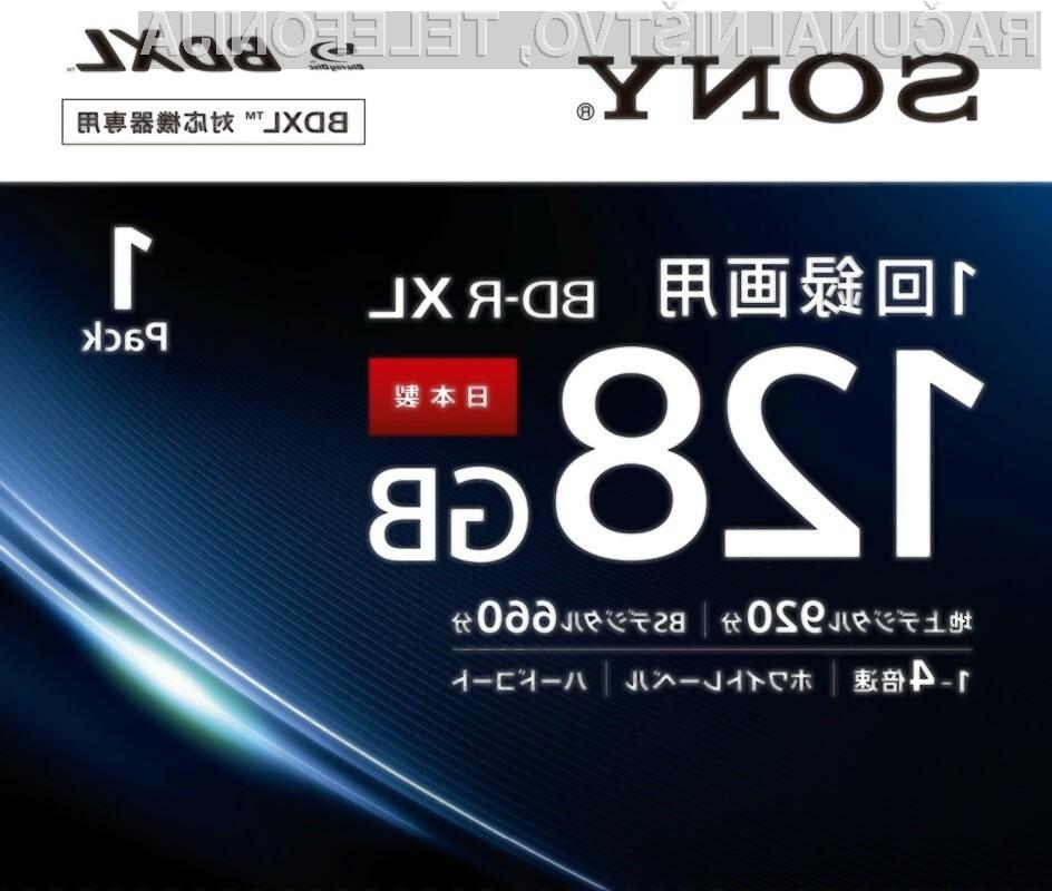 Nova optična zgoščenka Blu-ray BDXL podjetja Sony lahko shrani do 128 gigabajtov podatkov.
