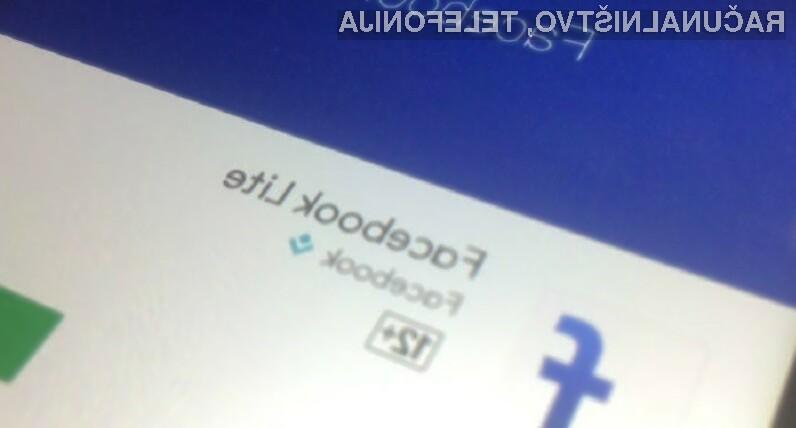 Mobilna aplikacija Facebook Lite je bila doslej prenesena že več kot milijardo krat.