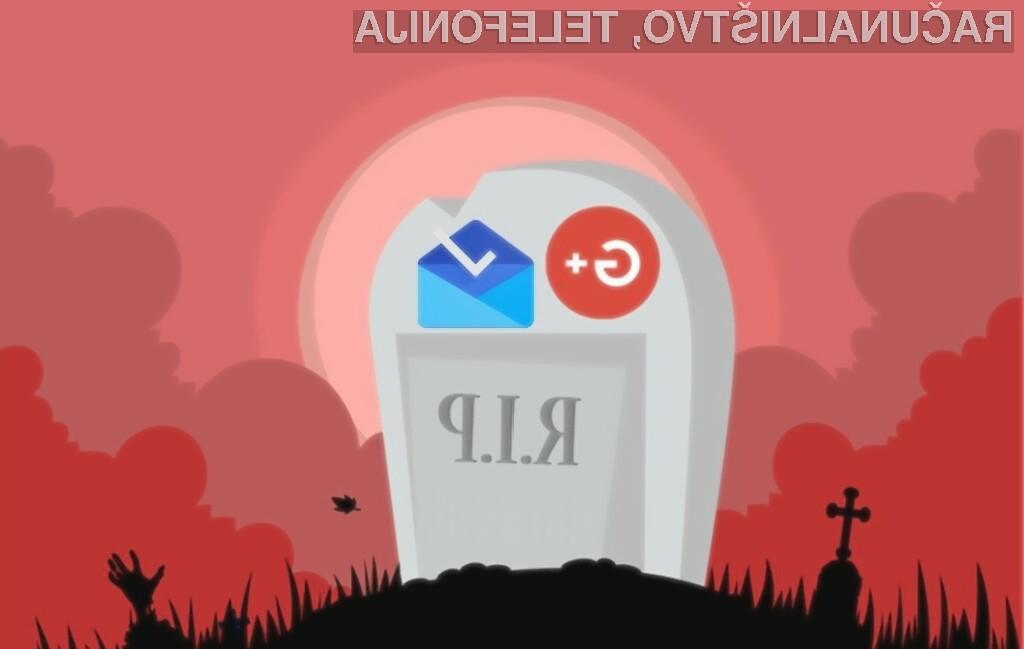 Google+ in Inbox bosta prenehala delovati že 2. aprila letos.