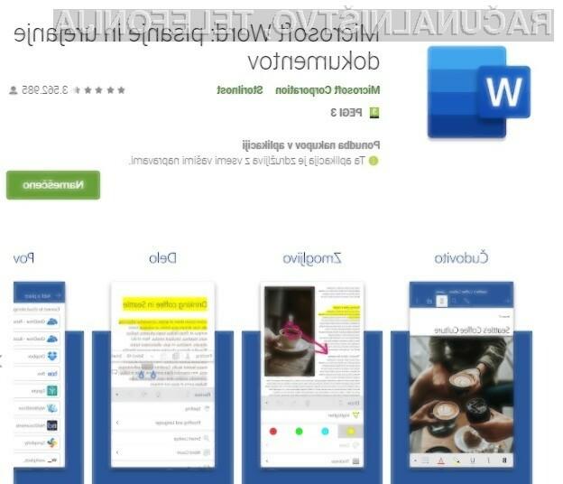 Microsoft Word za Android je med uporabniki mobilnih naprav Android sila priljubljen!