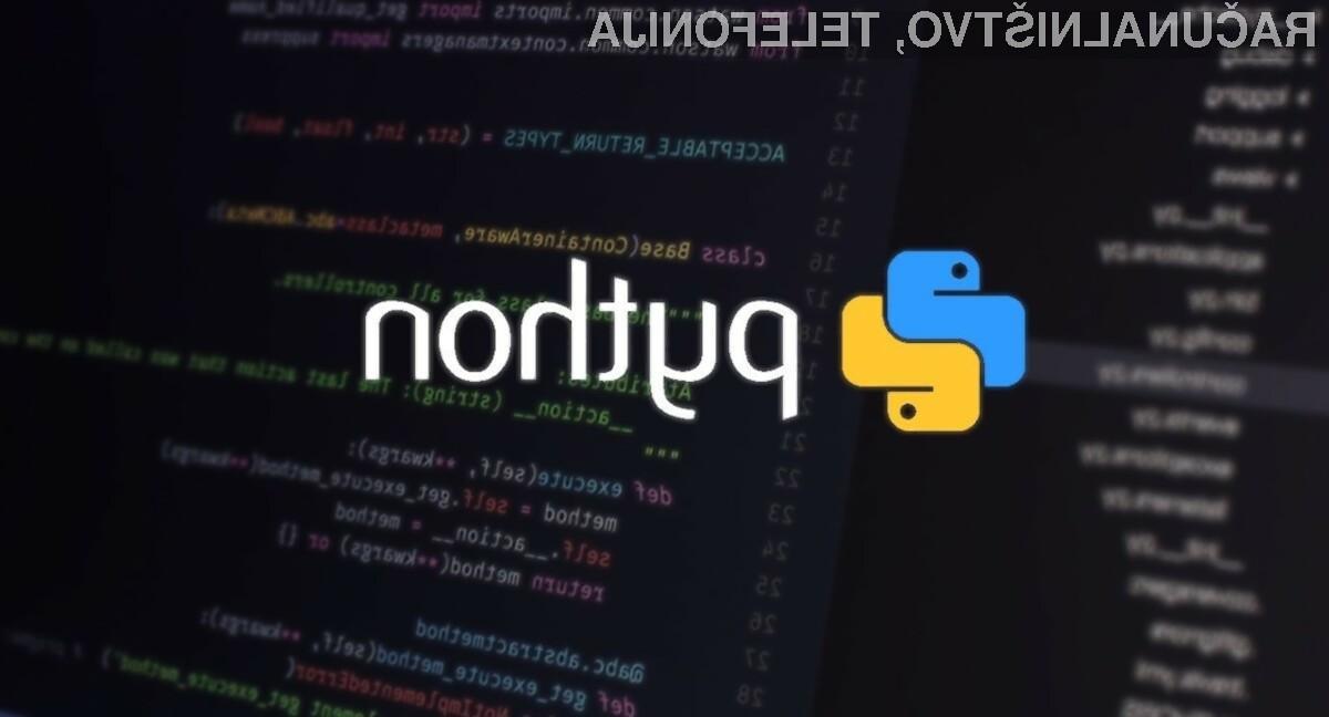Python se po priljubljenosti med programerji trenutno nahaja na drugem mestu.