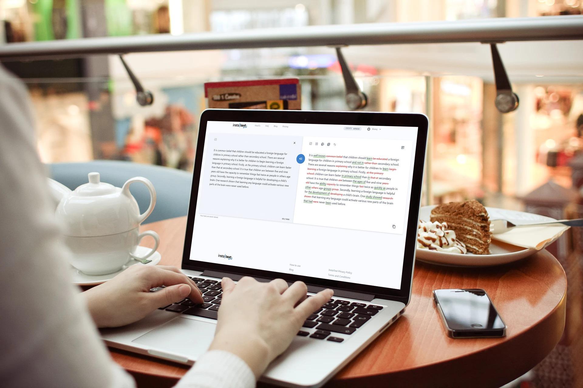 Izboljševanje besedil na www.instatext.io.