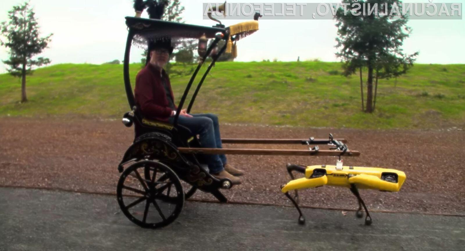 Napredni robotski pes Spot podjetja Boston Dynamics se je »spremenil« v vprežnega konja.