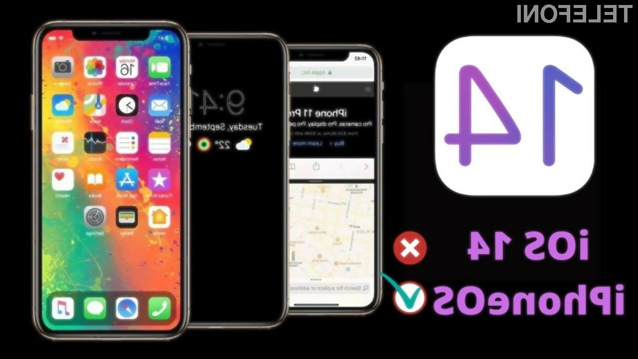 Novi iOS 14 naj bi podjetje Apple preimenovalo v iPhoneOS.