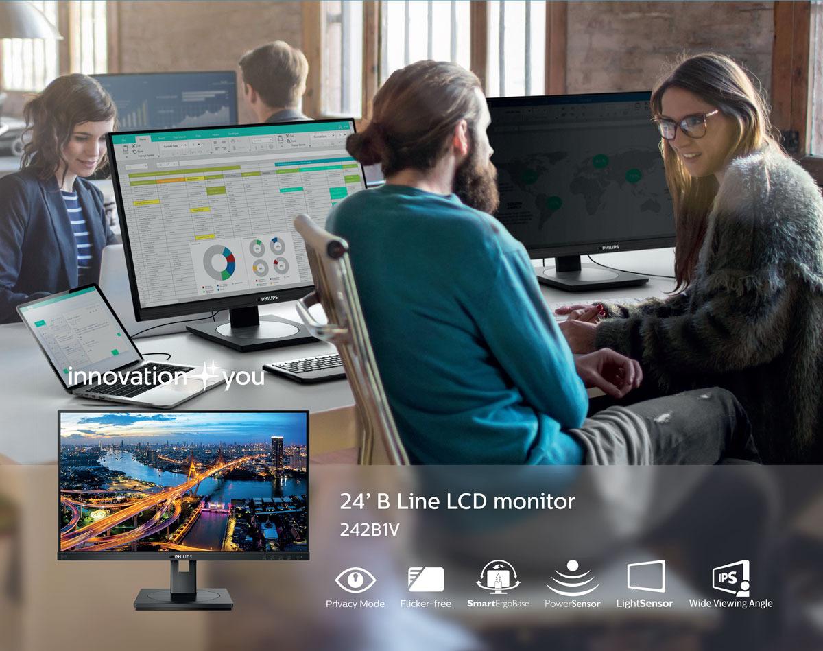 Monitor Philips 242B1V nudi varen ogled z zasebnim načinom