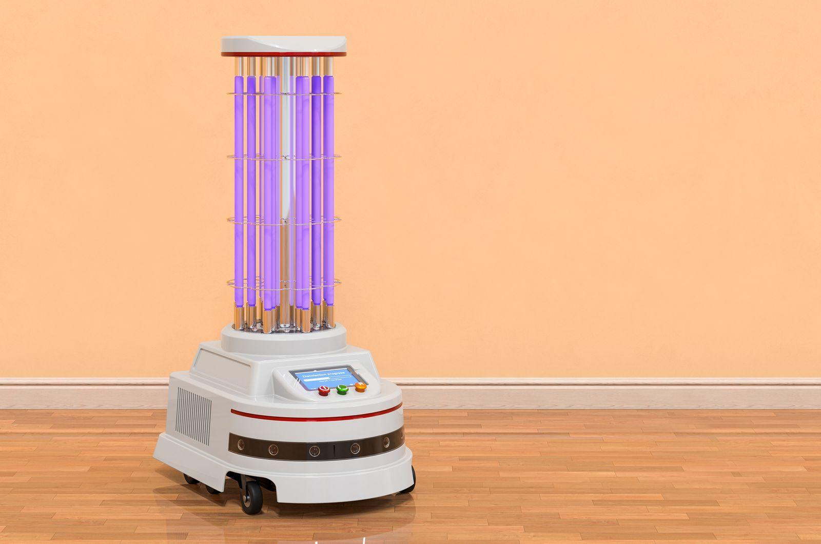 Namenski robot razkuži prostore kar s pomočjo ultravijolične svetlobe.